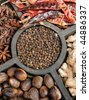 Indian Colorfully Spice. Hot red pepper, pepper, ginger, anise - stock photo