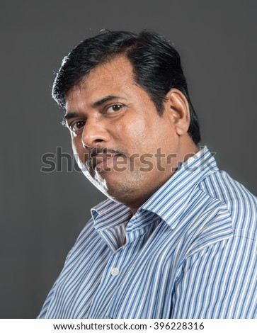 Indian common man closeup, Mumbai, Maharashtra, India, Southeast Asia - stock photo