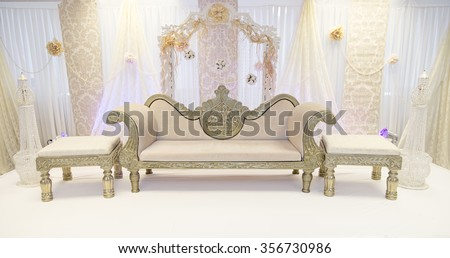 Indian cream themed wedding stage - stock photo