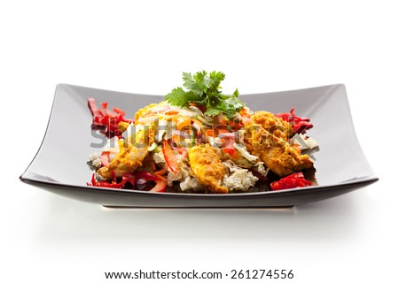 Indian Cuisine - Chicken Korma Salad with Curry Sauce - stock photo