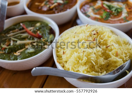 Indian cuisine, Rice with red and green curry