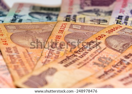 Indian Currency different Rupee bank notes background - stock photo