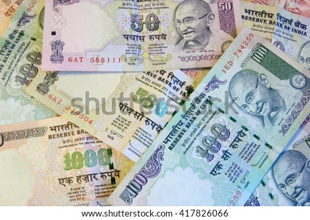 Indian currency rupee bank notes background