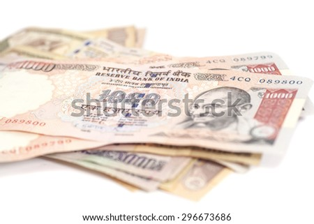 Indian Currency Rupee bank notes on white background - stock photo