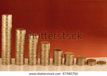 Indian currency-Stack of rupee coins - stock photo
