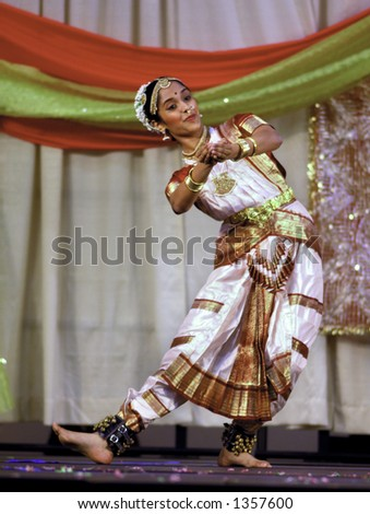 Indian Dancer Performing Classic Dance at Asian Festival - stock photo