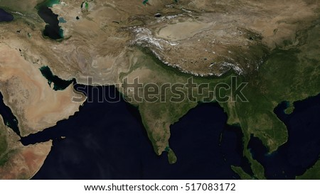 Indian Day Map Space View (Elements of this image furnished by NASA)