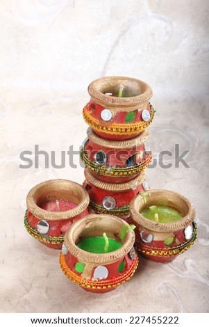 indian decorative candle pot, indian traditional festival  - stock photo
