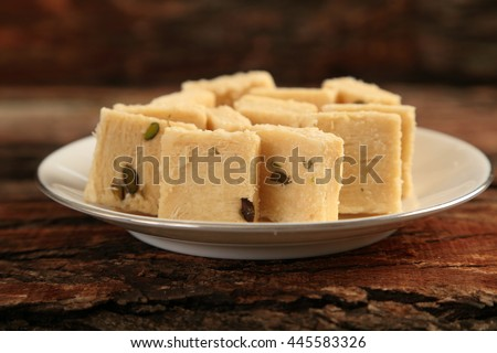 Indian dessert --Soan halwa served in plate, - stock photo