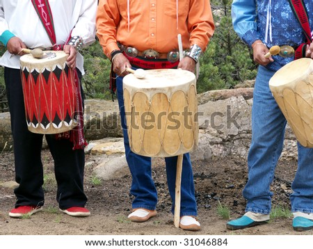 Indian drummers performing for a religious ceremony - stock photo