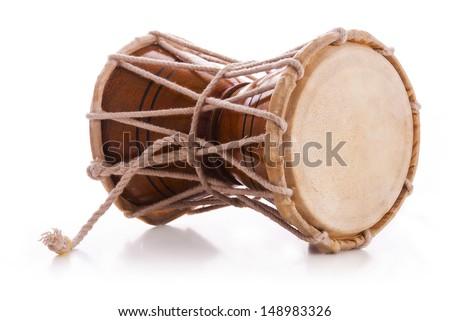 Indian drums damaru, isolated on white background - stock photo