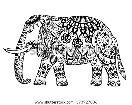 Indian elephant. Hand drawn doodle indian elephant with tribal ornament. art ethnic elephant.
