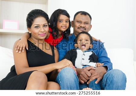Indian family in the living room - stock photo