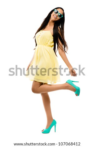 Indian Fashion model posing on white background - stock photo
