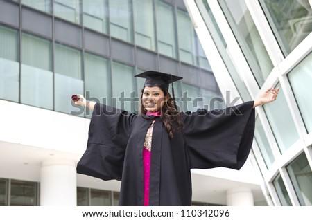 indian female graduate - stock photo