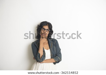 indian female thinking - stock photo