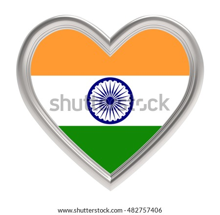 Indian flag in silver heart isolated on white background. 3D illustration.