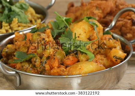 indian food spicy mixed vegetable curry - stock photo