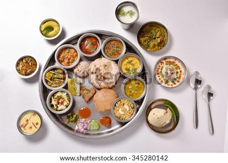 Indian food Thali - stock photo