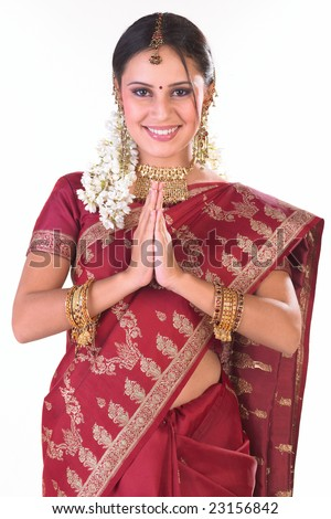 Indian girl in inviting posture - stock photo