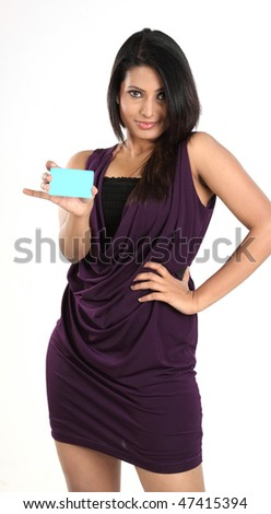 Indian girl with blue credit card - stock photo
