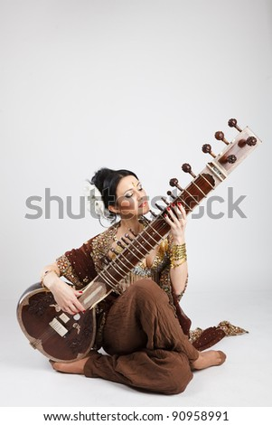 Indian Girl with Sitar