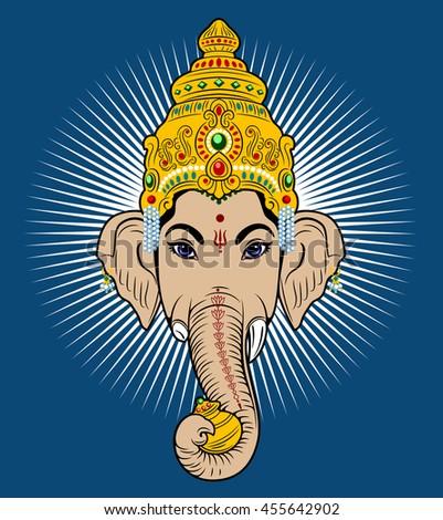 Indian god Ganesha with elephant head - stock photo