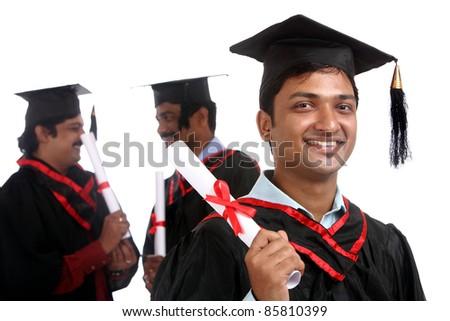 Indian graduates isolated on white background. - stock photo