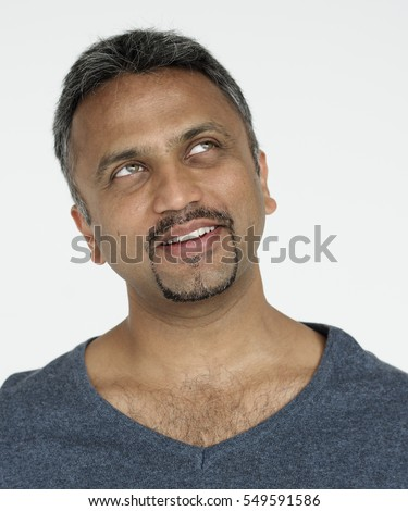 Indian guy smiling cheerful studio portrait