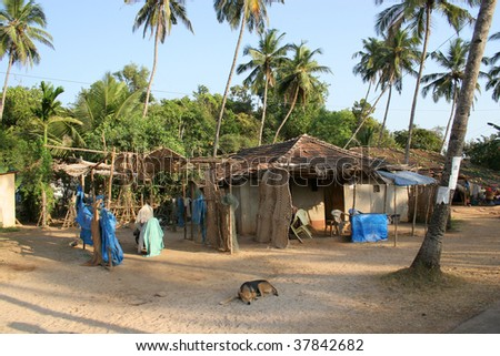 indian house in Goa with a dog - stock photo