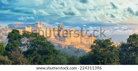 Indian landmarks - panorama with Amber fort. Jaipur city - stock photo