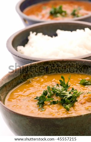 Indian Lentil Soup with Rice - stock photo