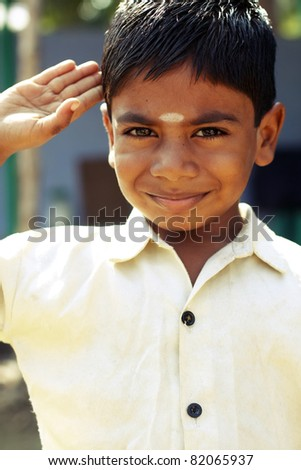 Indian little boy with expression. - stock photo