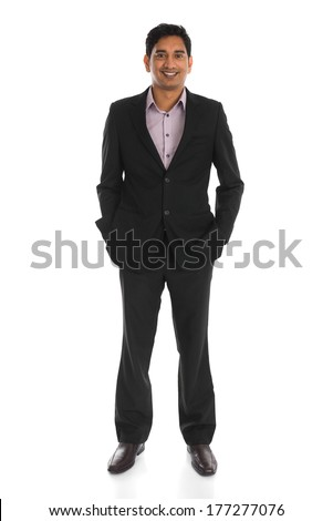 indian male business man with isolated white background full body - stock photo