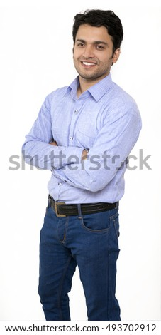 indian male model in blue shirt smiling
