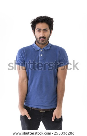 Indian man wearing Polo t-shirt & Jeans. Isolated on White Background - stock photo