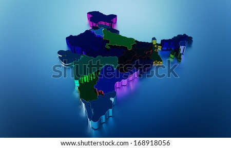 Indian map - stock photo