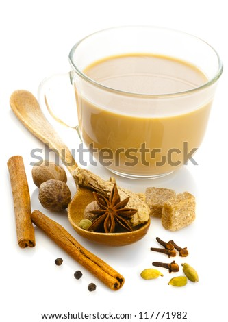 Indian masala tea with spices - stock photo