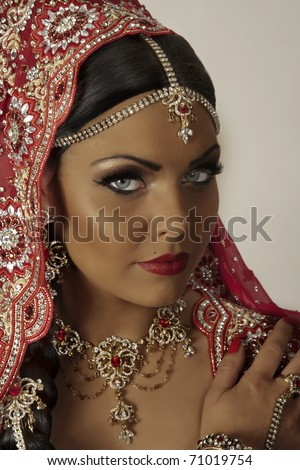 indian model with make up shot in the studio - stock photo