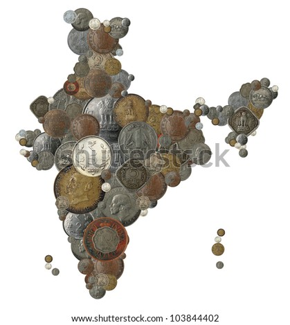 Indian money map shape created with old, new and vintage india currency coins in rupee, anna and paisa denominations - stock photo