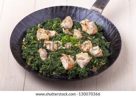 indian murgh palak curry dish - stock photo