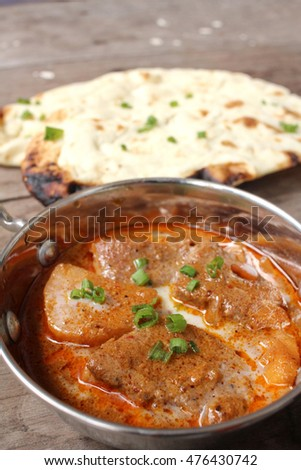 Indian naan bread with curry