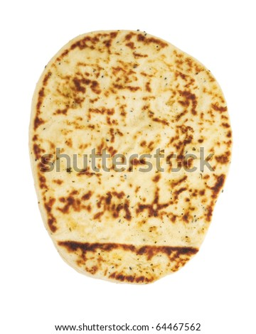 Indian naan flat-bread, isolated on white background
