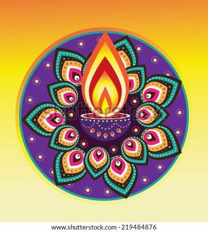 Indian new year element, diwali candle light - stock photo