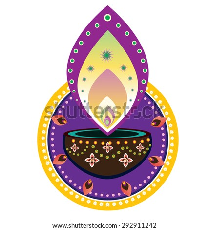 Indian new year element- diwali candle light - stock photo