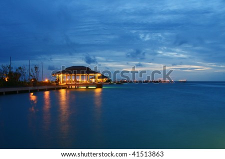 Indian ocean at dusk - stock photo