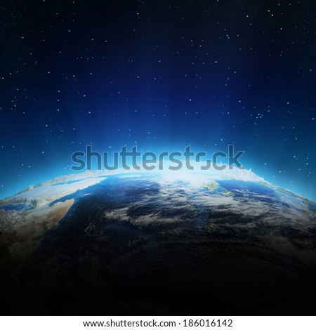 Indian Ocean clouds. Elements of this image furnished by NASA - stock photo