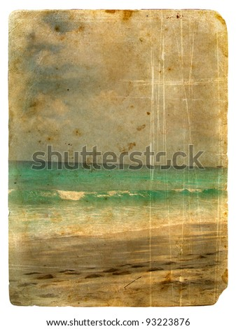 Indian Ocean, Seychelles. Old postcard, design in grunge and retro style