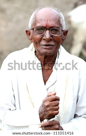 indian old man - stock photo