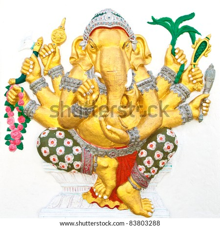 Indian or Hindu ganesha God Named Vighna Ganapati at temple in thailand ;The conviction will be used hand to apply to the Lord for get the wishes. - stock photo